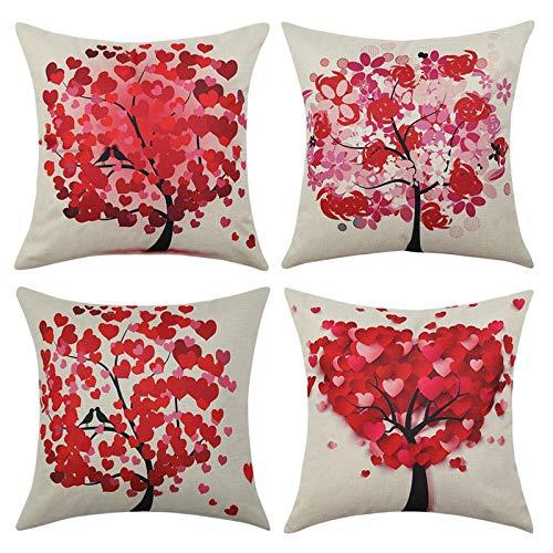 MIULEE Pack Von 4 Dekorative Bäumen Serie Rot Baum Kissenbezug Kissen Fällen Wurfkissen Einzigartiges Design Outdoor-Shell-Kissenbezug Für Sofa Couch Schlafzimmer 18X18 Inch