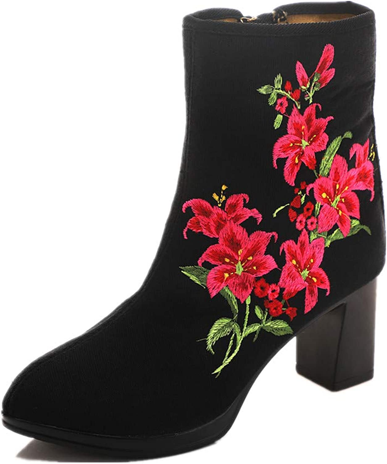 Tianrui Crown Women and Ladies Fllowers Embroidery Ankle Boots Square Heel Short Boot shoes