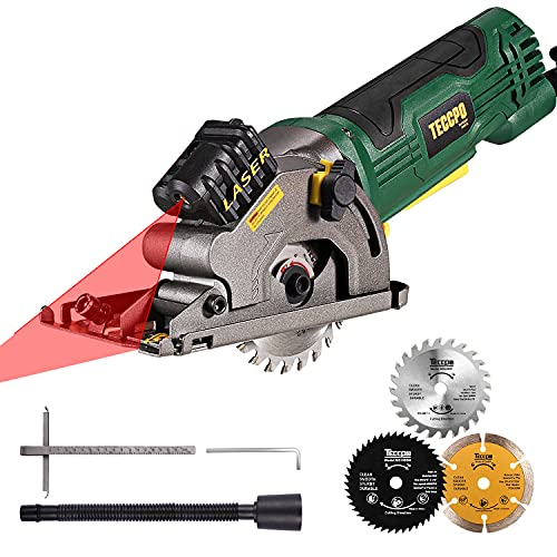 "Mini Circular Saw, TECCPO 4.8Amp, Compact Circular Saw, Laser Guide, Hand Saw, 3700 RPM, 3-5/16"" Circular Saw, Scale Ruler, Pure Copper Motor, Ideal for Wood, Soft Metal, Tile & Plastic Cuts - TAPS22P"