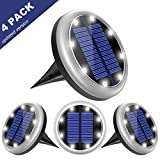 8 Pack Solar Ground Lights, 8 LED Solar Powered Disk Lights Outdoor Waterproof Garden Landscape Lighting for Yard Deck Lawn Patio Pathway Walkway