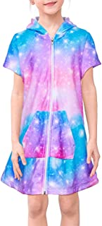 FIOBEE Unicorn Cover Up for Girls Terry Hooded Cover Ups for Kids Swimsuit Beach Dress with Zipper Purple