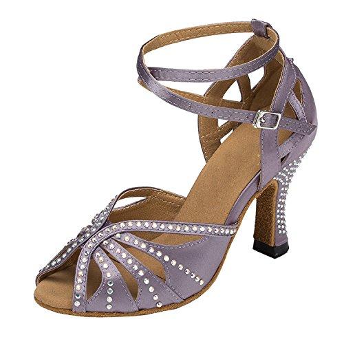 Minitoo TH162 Sandales de tango en satin avec cristaux pour femme - Violet - Baby Purple, 35