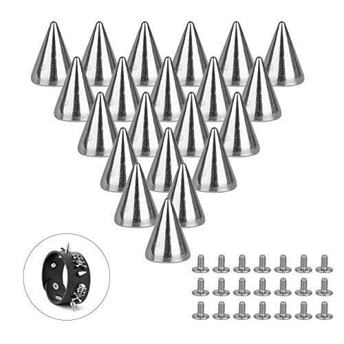 LAITER 150 Pcs Remaches Punk Tachuelas con Pinchos Cono Picos con Tornillo Plateado de Metal Aleación 7 × 10mm para DIY Bricolaje Decoración de Zapatos Cinturón Bolsa Pantalón Pulseras de Cuero Ropa