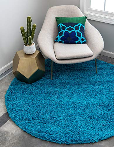 Unique Loom Solo Solid Shag Collection Modern Plush Turquoise Round Rug (6' 0 x 6' 0)