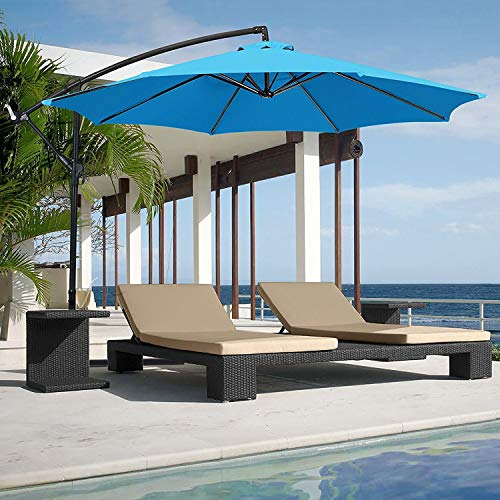 Best Choice Products 10ft Offset Hanging Aluminum Polyester Market Patio Umbrella w/ 8 Ribs and Easy Tilt Adjustment, Blue