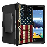 Untouchble Case for LG K8V | K8 V from Verizon Flag Case[Rugged Holster Case]- Swivel Holster Case with Dual Layer Phone Protection and Built Kickstand - Vintage America Flag