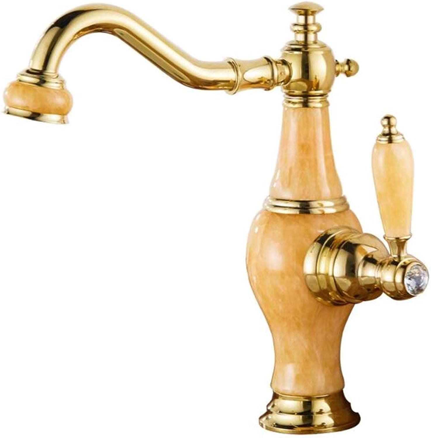golden natural jade redatable basin faucet copper single hole basin hot and cold single bathroom faucet
