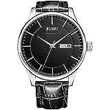 BUREI Männer präzise Quarz Armbanduhren mit Tag und Datum Kalender schwarzes-dial schwarz Lederband