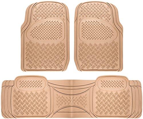 OxGord Universal Fit 3-Piece Diamond Heavy Duty Rubber Floor Mat - (Beige)