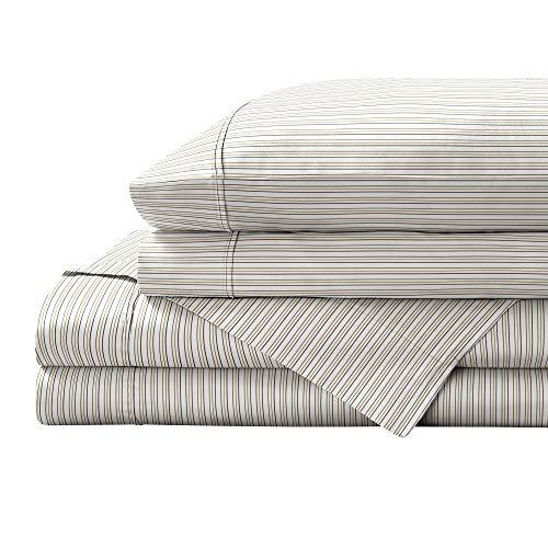 Brielle Juego de sábanas de percal 100% algodón, diseño de rayas, tamaño King, amarillo