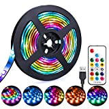 LED Strip Lights USB Powered 6.56ft Waterproof RGB Dmeixs LED TV Backlight with RF Remote ...