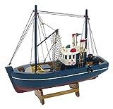 Générique Barco de Pesca de decoración de Madera, 30x 30x 8,5cm, Madera, Azul, 30x30x8.5 cm