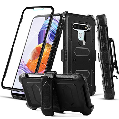RioGree Phone Case for LG Stylo 6 with Belt Clip Screen Protector Kickstand Heavy Duty Durable for Women Men Girls Boys - Black