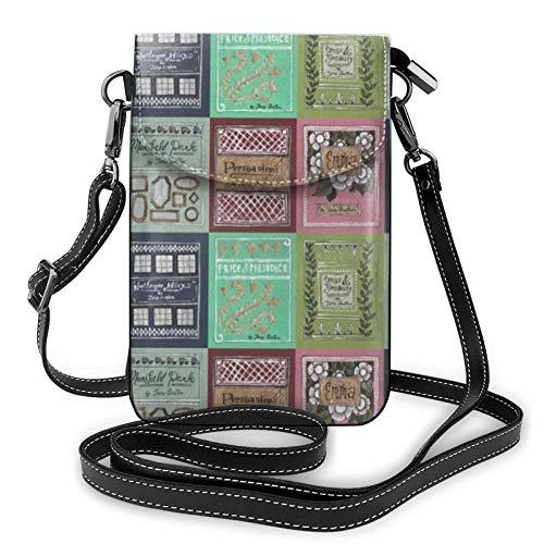 Jane Austen - Funda de piel para libros de hombro, bolsa cruzada para teléfono móvil, ligera, cartera para mujeres, viajes, compras