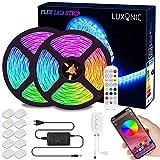 Tiras de luz LED Bluetooth, LUXONIC 5050 RGB 2x5 metros Tiras de luz LED 300 LED Banda de luz a prueba de agua a control remoto