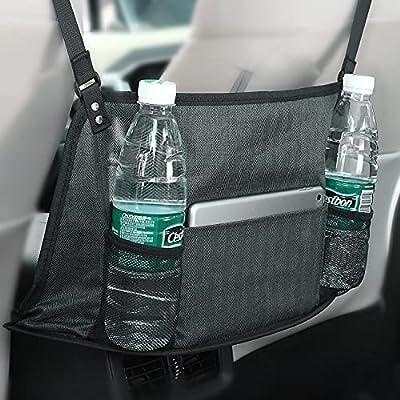 KINGMAS Car Net Pocket Handbag Holder, Car Purse Holder, Car Mesh Organizer Accessory Organizer Pouch Bag, Barrier of Pet Kids, (Dark Slate Gray)