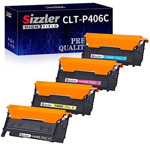 Sizzler Kompatibel CLT-P406C Tonerkartuschen Ersatz für Samsung 406S Toner für Samsung CLX-3300 CLX-3305 CLX-3305W CLX-3305FW CLX-3305FN CLP-360 CLP-365 CLP-365W SL-C410W C410FW C460FW (4er-Pack)