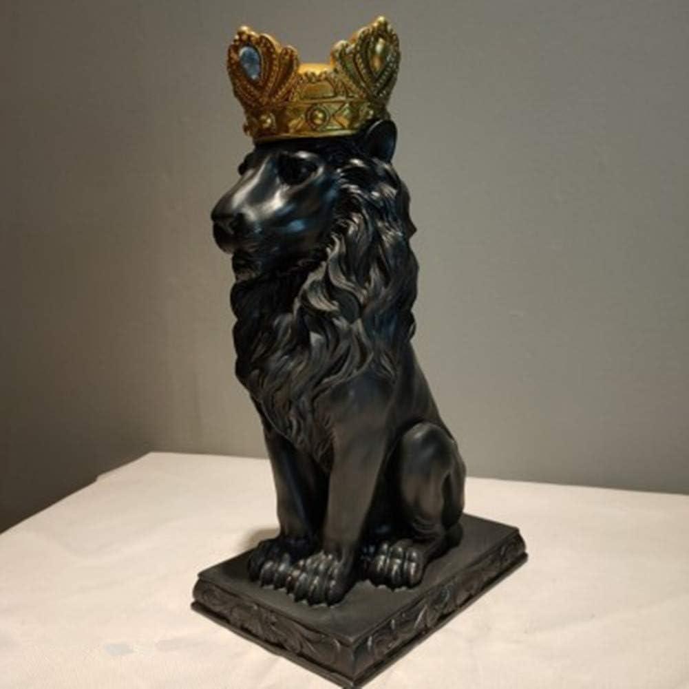 UKURO 出荷 Creative Crown Lion Statue f Resin Animal Crafts Figurines 安い