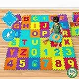 Puzzlematte - 86-430 Teile, Buchstaben und Zahlen, Oberfläche 3,57 m2 - 17,85 m2, EVA Schaumstoff, Bunt - Spielmatte, Spielteppich, Kinderteppich, Schaumstoffmatte, Puzzleteppich, Kinderspielteppich