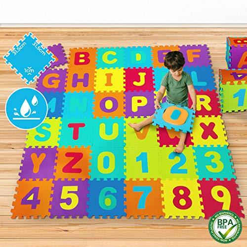 Infantastic Alfombra Puzzle para Niños y Bebés, Juego de 2 - 2X 86 Piezas, 189x189cm, 3.57 m2, con Letras (A-Z) y Números (0-9), Goma EVA - Alfombrilla de Espuma Protectora de Suelo