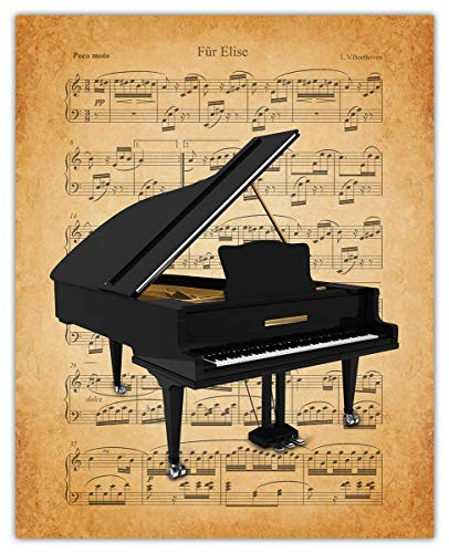 Vintage Piano Sheet Music Wall Art Print: Unique Room Decor for Boys, Men, Girls & Women - (8x10) Unframed Picture - Great Gift Idea Under $15 for Music Lovers!