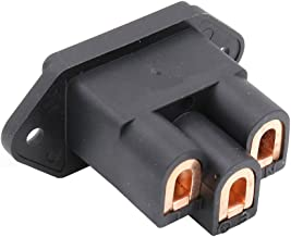Viborg AC 250V 10A IEC320 C14 Panel Mount Plug Adapter Power Connector Socket Screw Mount 3 Pins Inlet Male Power Plug Socket Audio Grade (Pure Copper, Black)