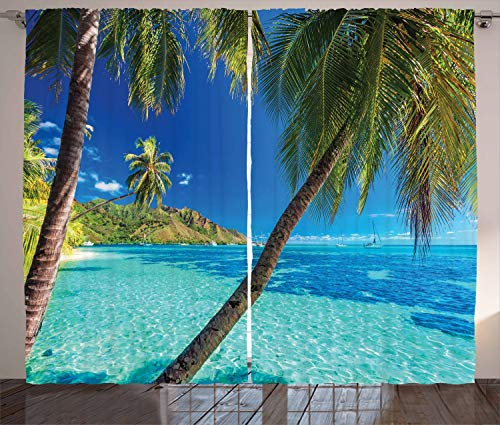 Ambesonne Ocean Curtains, Image of a Tropical Island with The Palm Trees and Clear Sea Beach Theme Print, Living Room Bedroom Window Drapes 2 Panel Set, 108″ X 108″, Turquoise Blue