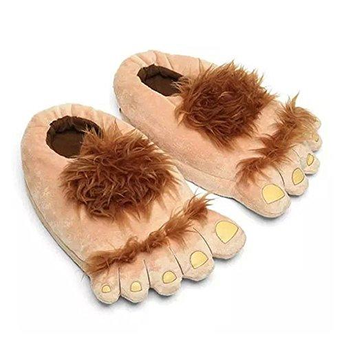 LOLANTA Pantuflas Big Furry Adventure para Adulto Hairy Hobbit Funny Feet Zapatos para Hombre Mujer (marrón)