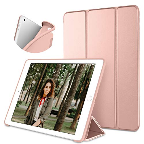 DTTO iPad 10.2 Case,2020 iPad 8th Generation Case / 2019 iPad 7th Generation Case, Ultra Lightweight Slim Protective Soft Back Cover Smart Trifold Stand [Auto Sleep/Wake], Pink Gold