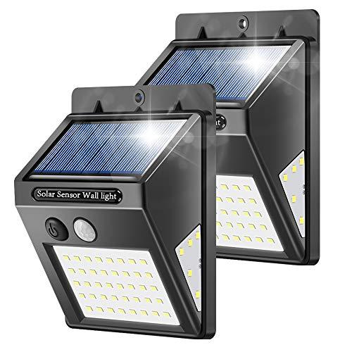 Solarlampen für Außen, Banral 50LED Solarleuchten für Außen mit Bewegungsmelder 270° Superhelle Solarleuchte, Sicherheitswandleuchte 3 Modi IP65 Wasserdichte Wandleuchte für außen Garten (2pc)