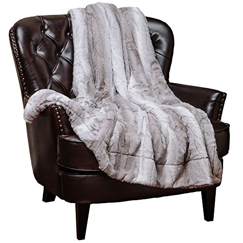 "Chanasya Super Soft Fuzzy Fur Elegant Throw Blanket | Faux Fur Falling Leaf Pattern Fluffy Plush Sherpa Cozy Warm Grey Microfiber Blanket for Bed Couch Living Bed Room - Grey and White - 60""x70"""