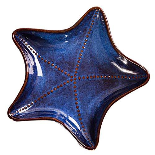 Platos Cerámica Refrigerio De Cielo Estrellado Casero Desayuno Creativo Postre Profundo De Moda (Color : Blue, Size : 19.5×3.6cm)