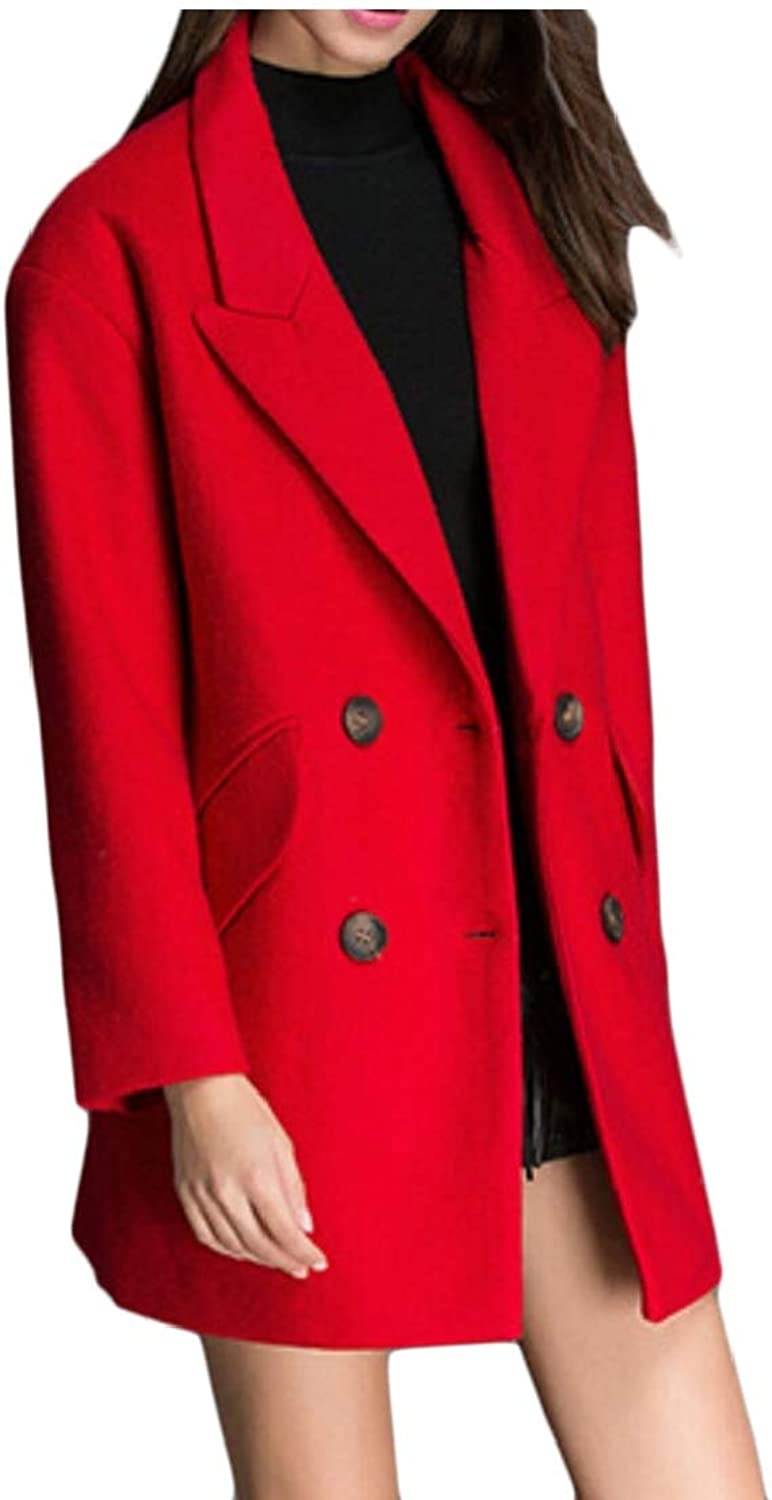 Desolateness Women's Notched Lapel Double Breasted Trench Coat Long Jackets