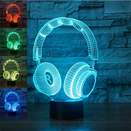 3D DJ Headphone Headset Night Light Led Touch Switch Decor Table Desk Optical Illusion Lamps 7 Color Changing Lights LED Table Lamp Xmas Home Love Birthday Children Kids Decor Toy Gift
