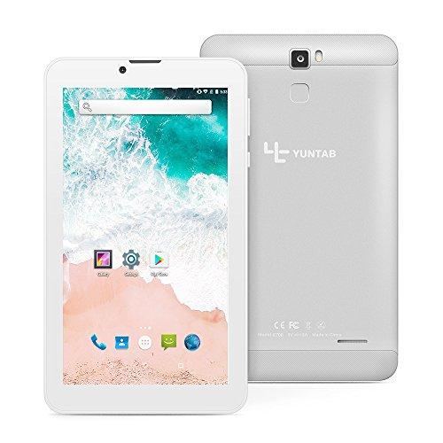 YUNTAB E706 7 Zoll Tablet, RAM 1 GB + ROM 16 GB, mit Dual-SIM-Steckplatz, WLAN, Bluetooth, Unterstützung von 2G, 3G-Anruf, Android 7.0-System (Silber)