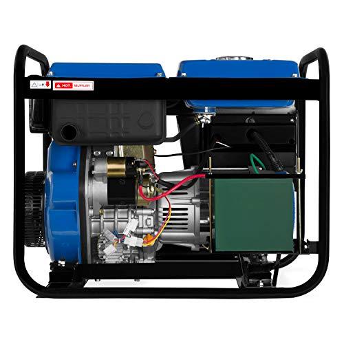 EBERTH 5000 Watt Générateur diesel (Démarrage électrique, Moteur diesel 10 CV, 4 temps, Monophasé, 2x 230V, 1x 12V, voltmètre)