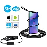 YELIN WiFi Endoscope 1200P Wireless IP68 Waterproof Borescope HD Inspection Camera 5M Semi-Rigid Endoscope with 8 Adjustable LED Lights Compatible with iPhone Android Phone Computer (16.40 ft)
