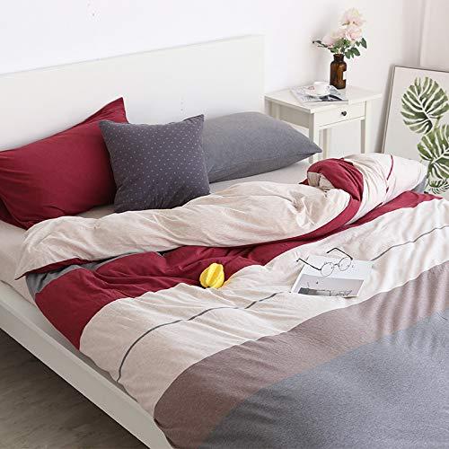 CYGJ Three-piece or four-piece soft and comfortable cotton beddingRed gray stripes1.5m four-piece set