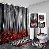 ZDDWLDL Duschvorhang-Set Graubrauner Ahornblatt-Dschungel Badezimmerteppich-Set 3D Gedruckter Duschvorhang Polyester Wasserdicht rutschfest Badvorleger WC-Deckelbezug 180x180 cm