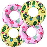 """Inflatable Swim Ring for Kids(4-Pack), Toddler Pool Inner Tubes for Floating, Flamingo Pool Floaties for Toddlers, Cactus Swim Tube, Beach Swimming Ring and Toys for Infant 3-6(22"""")"""