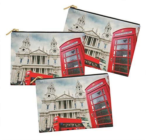 Timingila Blanc Tourisme Imprimé Make Up Trousse de Maquillage Porte-Monnaie-Pack Organisateur de Toilette de 3 pièces 6 x 8 Pouces