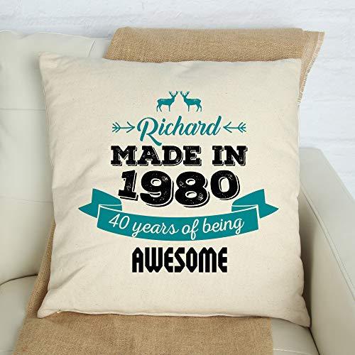DKISEE - Federa decorativa per cuscino, realizzata in anno, per compleanno, per il 30°, 40°, 50°, 60°, 70°, 80° compleanno, regalo per lui e lei, 40 x 40 cm, in tela di cotone quadrato