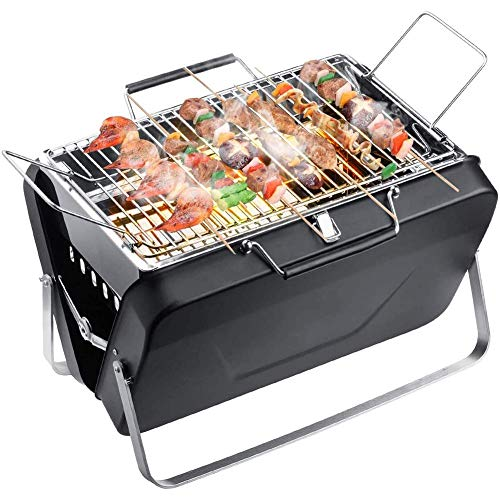 WFFF BBQ charcoal grill, portable folding stainless steel barbecue home barbecue charcoal roast barbecue for patio Hotel Villa commercial