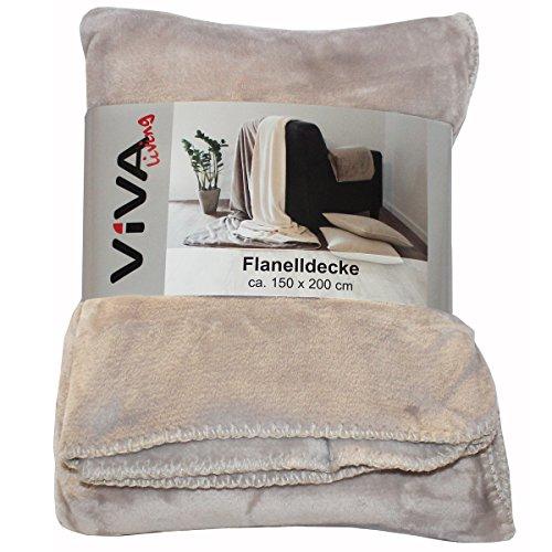Flanelldecke 150x200cm Wohnzimmer Sofa Kuscheldecke Decke flauschig Winter weich, Farbe:Beige