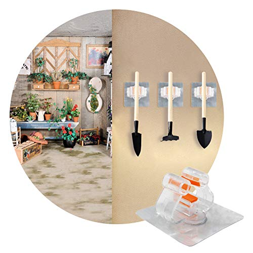 Lianqi 2PCS Serpillère/Balai Clip, Auto-Adhésif Balai Porte-Crochets Mur Monté Rangement Outil Accueil Organisation, Organiser Jardinage Outils