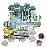 Mirror Wall Stickers 36PCS Acrylic Mirror Removable Wall Decals Hexagon Mirror Stickers for Walls Dedroom Aesthetic Home Living Cute Room Decor DIY Espejos Decorativos De Pared Salas De Casa EXGOX