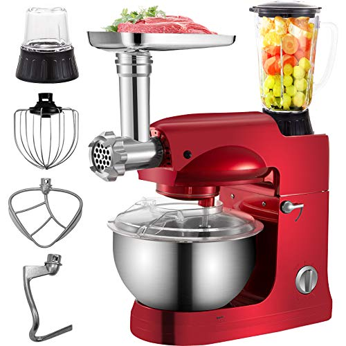 VEVOR 4 in 1 Stand Mixer 1000W Multifunctional Electric Kitchen Mixer 6-Speed Meat Grinder Juice Blender with 5.3QT Stainless Steel Bowl, Hook, Whisk and Beater Tilt-Head Dough Machine, Red