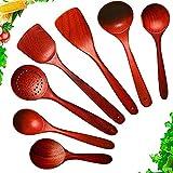 Juego de espátula de madera para cocinar,Utensilio de cocina de madera,Utensilio de madera de flor de pera natural para utensilios de cocina antiadherentes 7 piezas