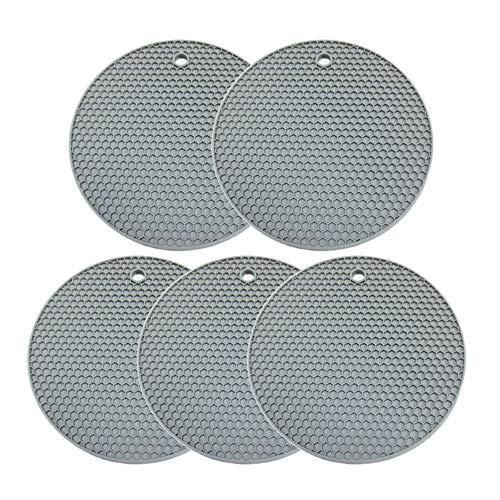 Salvamanteles de silicona, paquete de 5 alfombrillas de silicona para ollas calientes, estera para secar platos, antideslizante y resistente al calor, almohadillas calientes para encimeras de mesa