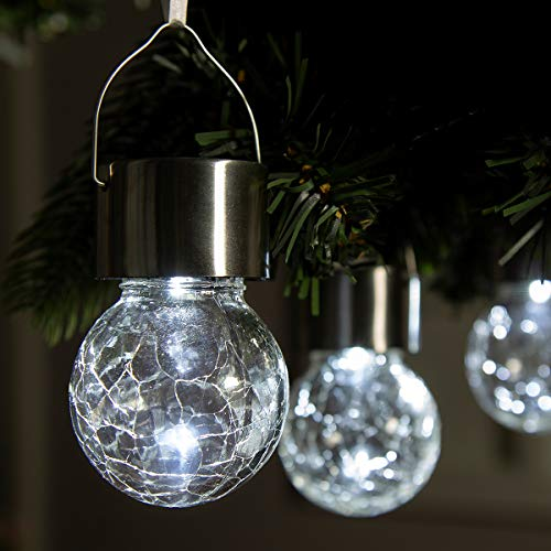 GIGALUMI 4 Pack Hanging Solar Lights Christmas Yard Decoration, White LED Solar Crackle Globe Hanging Lights Waterproof Outdoor Solar Lanterns with Handle for Garden, Yard, Patio, Lawn
